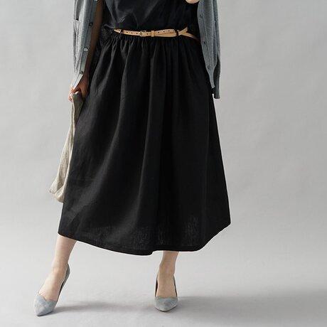 【wafu】中厚 リネン スカート ウエスゴム ベルトループ ベルト紐付き ゆったり目にも / ブラック s004b-bck2の画像