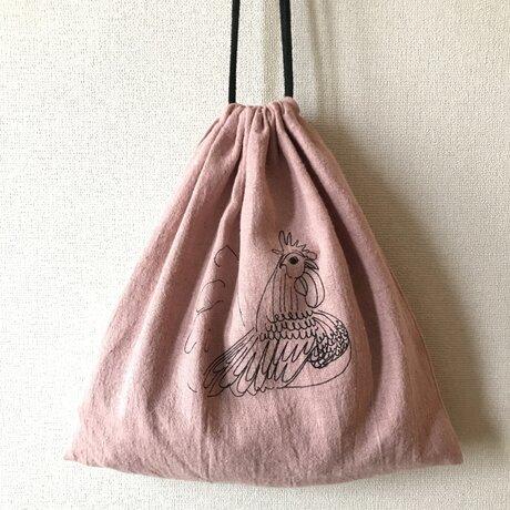 ニワトリ ピンク 巾着 Lの画像