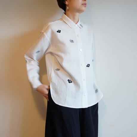 リネンシャツ白 <椿>の画像