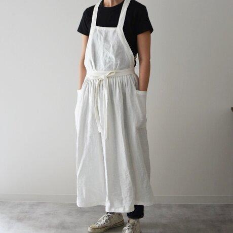 リネン エプロンドレス Dressy line Whiteの画像