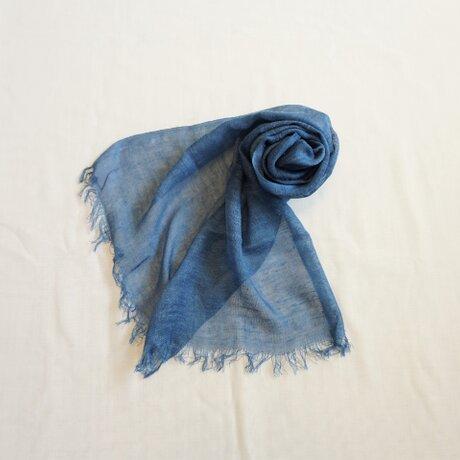 【受注制作】藍染 シルクネップストール 浅葱の画像