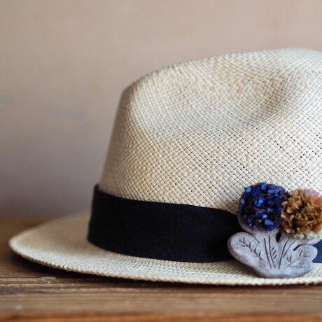 pomponブローチ(blue-brownflower)の画像