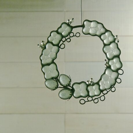 ガラスのリース [あじさい]Mの画像