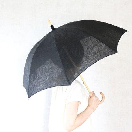 リネン日傘 黒の画像