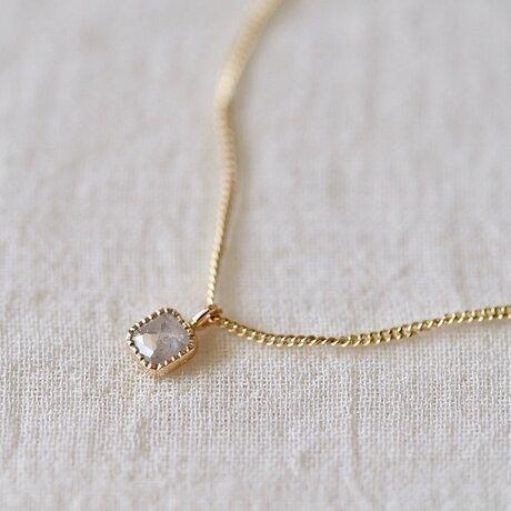 Baby Square Diamond Necklace/ Milk Skyの画像