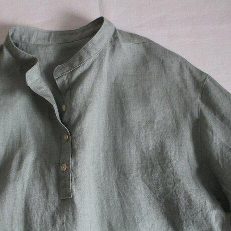 リトアニアリネン100% ~プルオーバーロングシャツ~ アースグリーン【受注生産】の画像