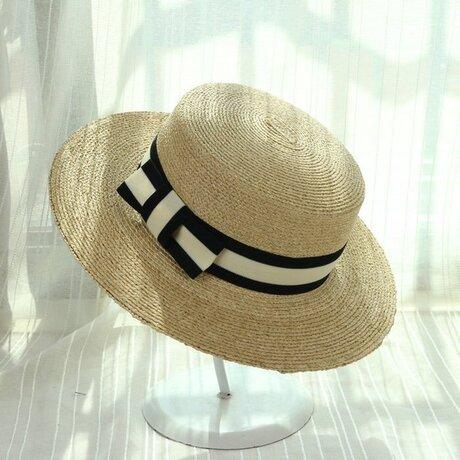 広つばの麦わらカンカン帽 天然草編み 夏の麦わら帽子の画像