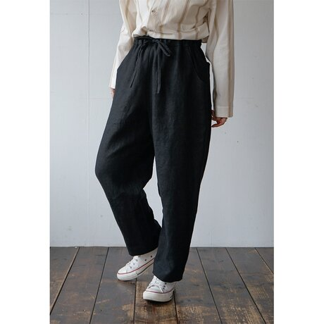 heavy linen pants [black]の画像