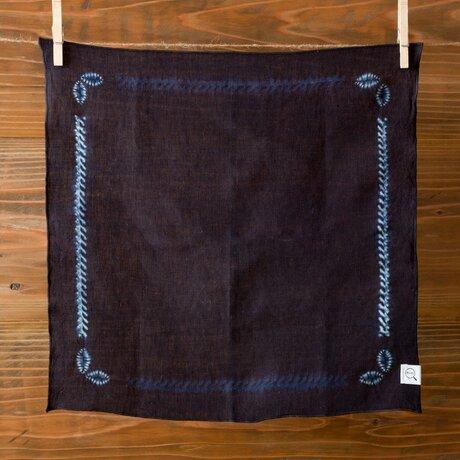 【受注生産】本藍絞り染め オーガニックリネンハンカチ(バンダナ)の画像