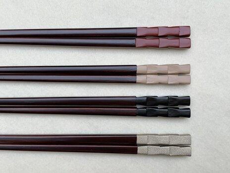 箸 市松 朱塗×溜塗(長さ23㎝)の画像