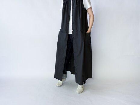 air tumbler cotton/tuck gather long onepiece/blackの画像