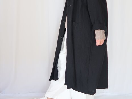 強撚リネン・オーバーサイズコート・ブラック・こなれ感の画像