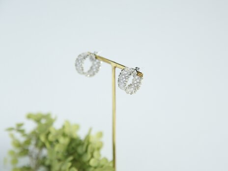 lace hoop /lightgray×silver P004-bの画像