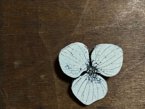 焦がし絵ブローチ 紫陽花の画像