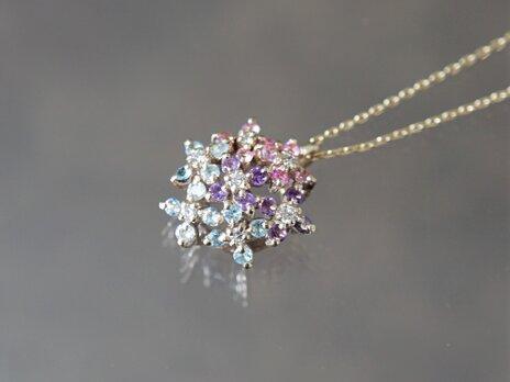 【受注製作】K10YG 紫陽花のペンダントの画像