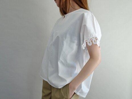 ケミカルレース袖cottonプルオーバーの画像