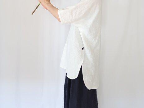 夏のリネンプルオーバー♡ラウンドヘム&ロング丈♡ホワイトリネン♡シンプルコーデ・おうち時間の画像