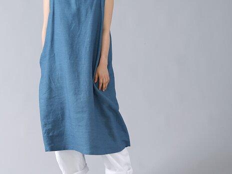 【wafu】リネン ジャンパースカート ワンピース エプロンとしても やや薄地/薄縹(うすはなだ) a037c-ush1の画像