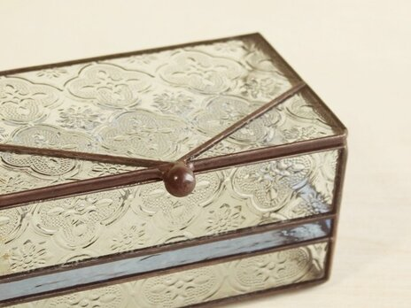 フローラガラスの小物入れ(ブルー)の画像