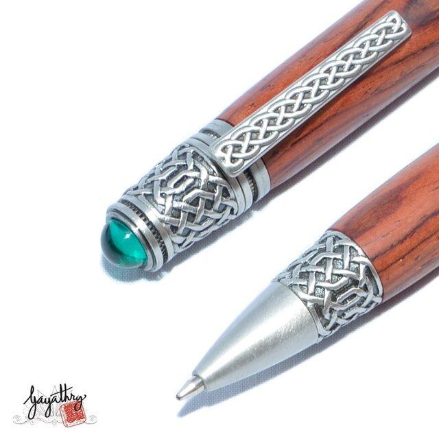【受注製作】木製の回転式ボールペン(ココボロ;ピュ-ター(しろめ)のメッキ)の画像1枚目