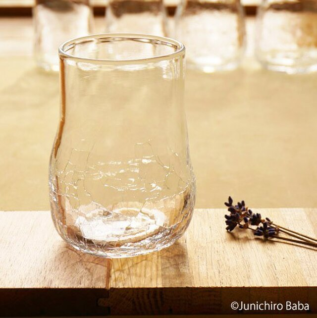 無色透明のグラス - 「KAZEの肌」(304) ● 高さ10.5cmの画像1枚目