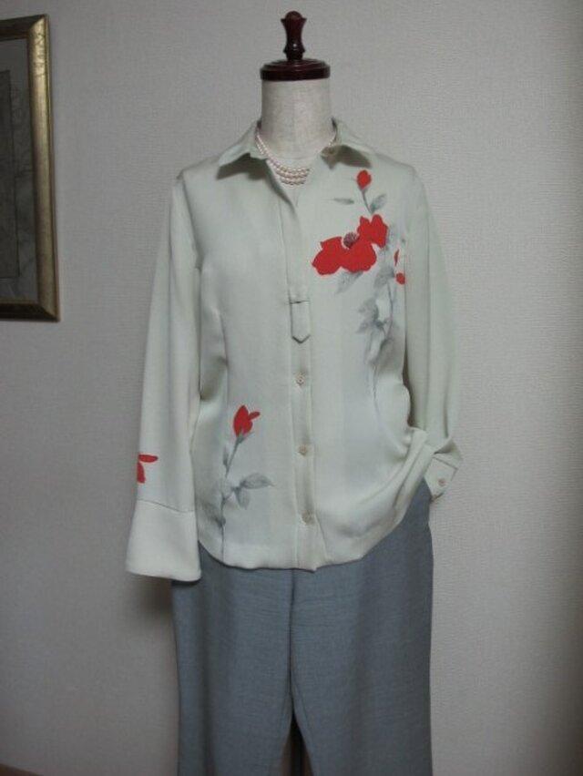 手描き赤いバラのシルクシャツの画像1枚目