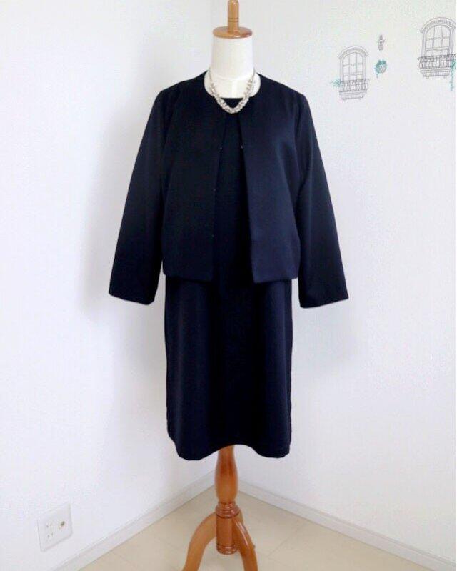 【setフォーマル*濃紺】ファスナー付きワンピース&ノーカラージャケット♥の画像1枚目
