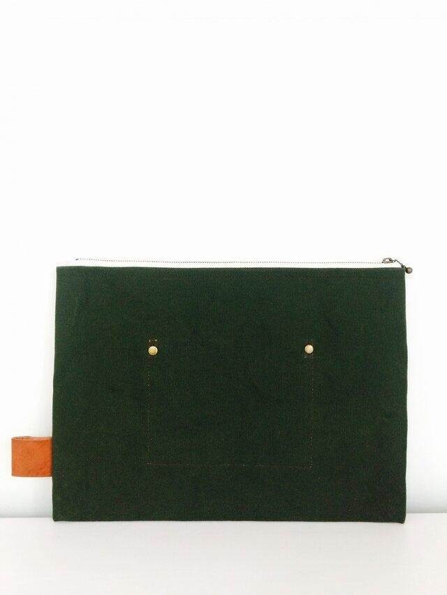帆布×本革 ワイルドクラッチ armygreenの画像1枚目