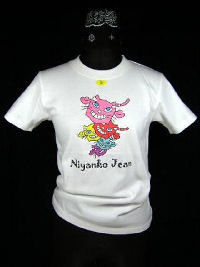 ★オリジナルデザイン★カラフル猫が一杯のTシャツ・新品★の画像1枚目