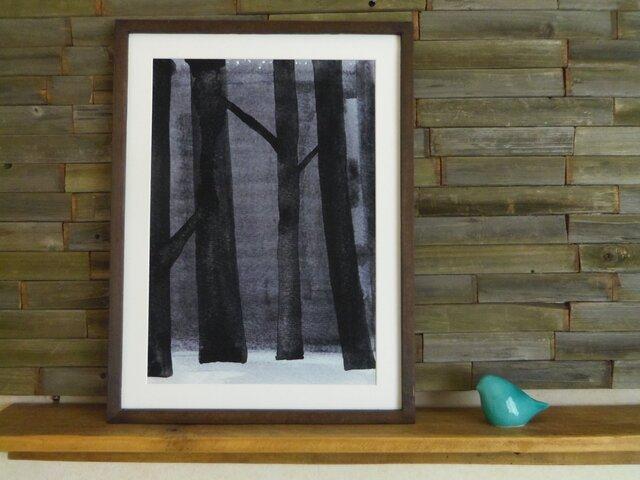 ゆる絵 Dusky forest  A3 + 額の画像1枚目