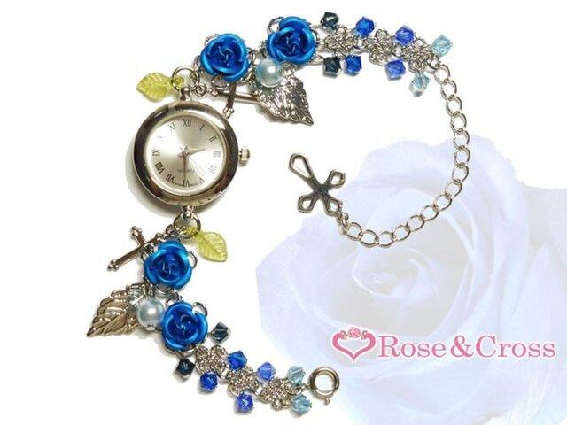 姫系☆薔薇&ビーズのエレガントブレスウオッチ・ブルー(腕時計)!結婚式やパーティーなどドレスを着る機会に!の画像1枚目