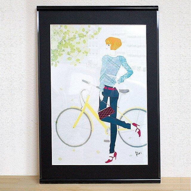 A3額入りイラスト「自転車」・サイン入りの画像1枚目
