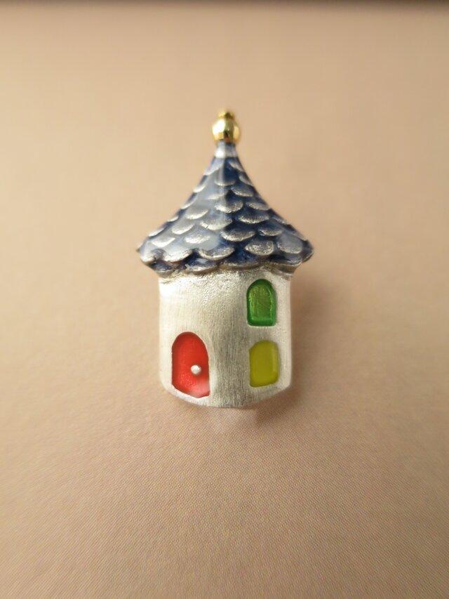 SV とんがり屋根のお家 (青) tiny pinの画像1枚目
