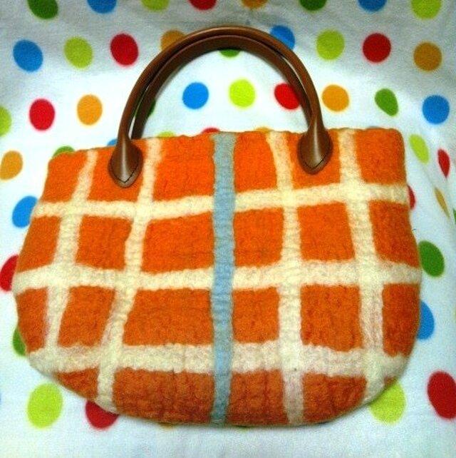 羊毛 格子柄のオレンジバッグの画像1枚目