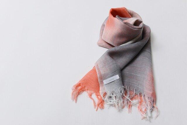 国産シルク100%手描き染めストールpink&gray-の画像1枚目