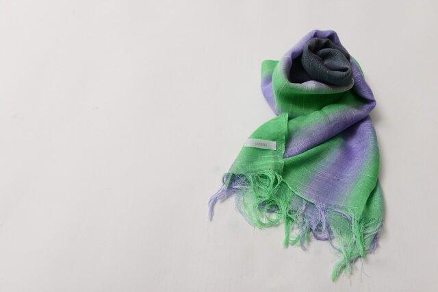 国産シルク100%手描き染めストール purple&green&gray-の画像1枚目