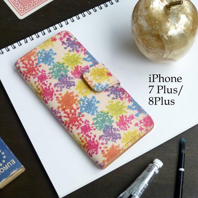 iPhone7Plus/8Plus アイフォンケース 手帳型(ビビット レースフラワー) 牛革 ILL-1139の画像1枚目