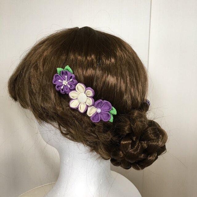 紫の小花とこてまりの髪飾りセット(成人式・七五三・ちりめん細工)の画像1枚目