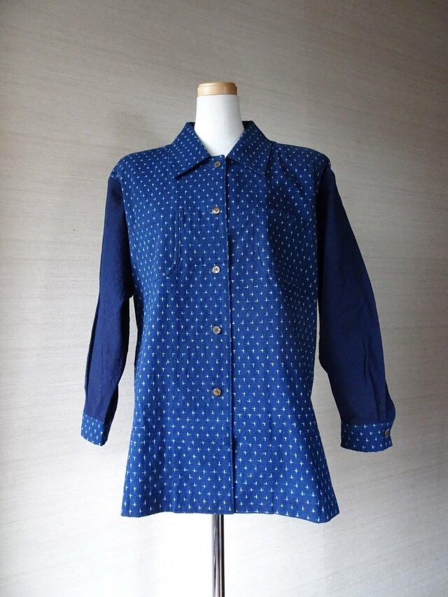 手織り久留米絣:十字絣のシャツ・プラウス(W-39)の画像1枚目