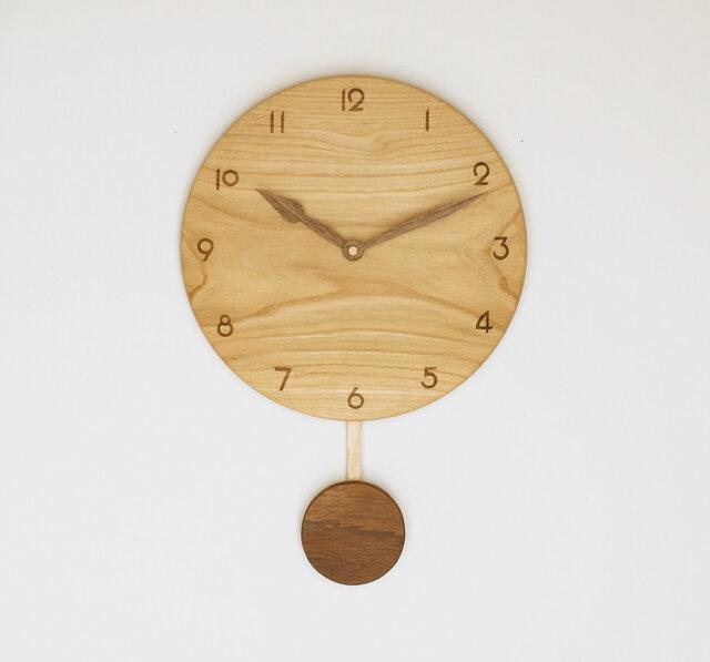 木製 振り子時計 栗材12の画像1枚目
