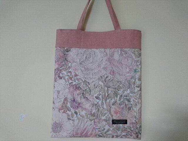 リバティA4サイズぺたバッグ Rose Xanthe (朱鷺羽ピンク)の画像1枚目