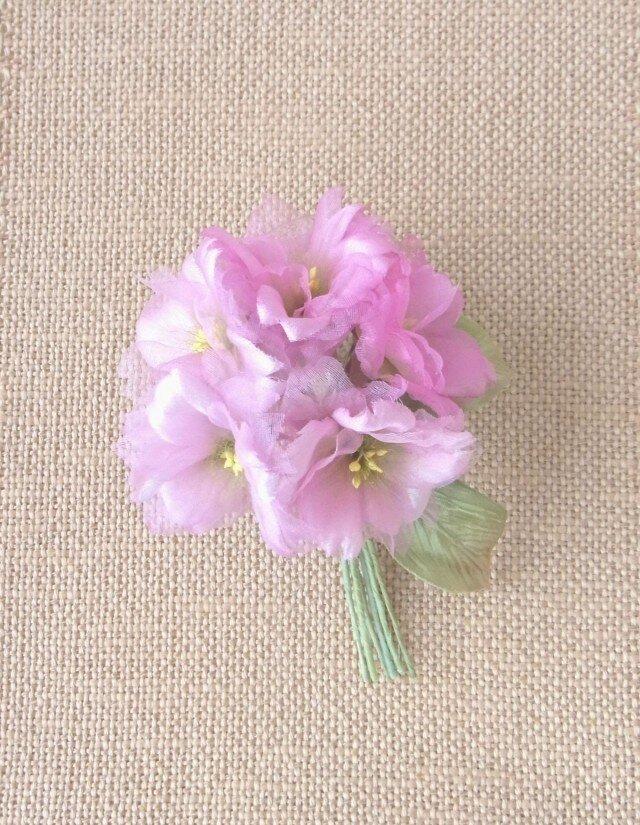 スィートピンクの桜 S * 2種シルク製 * コサージュ 髪飾りの画像1枚目
