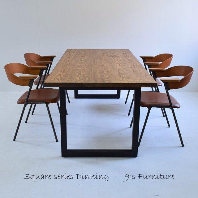 送料無料 ダイニングテーブル アイアン脚 DT-ir-square-150の画像1枚目