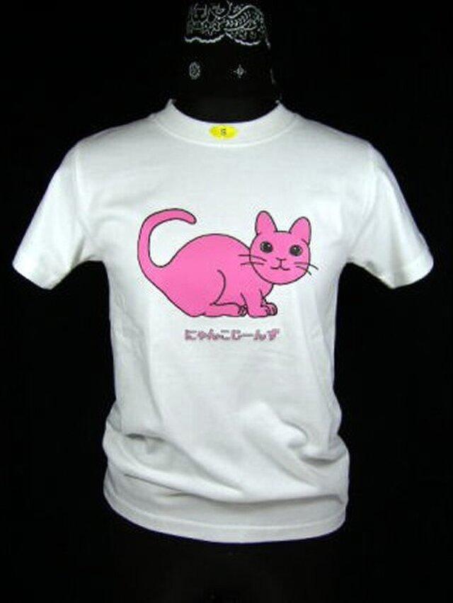 ★★オリジナルデザイン★ピンクの猫のTシャツ・新品★★の画像1枚目
