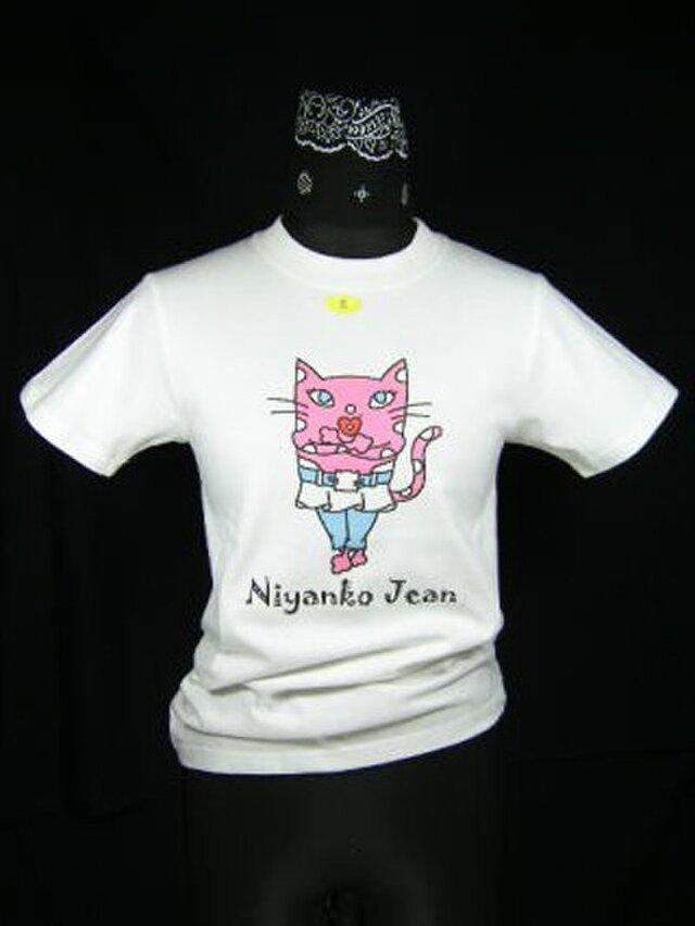 ★★巻きスカートにジーンズの★ピンク猫のTシャツ・新品★★の画像1枚目