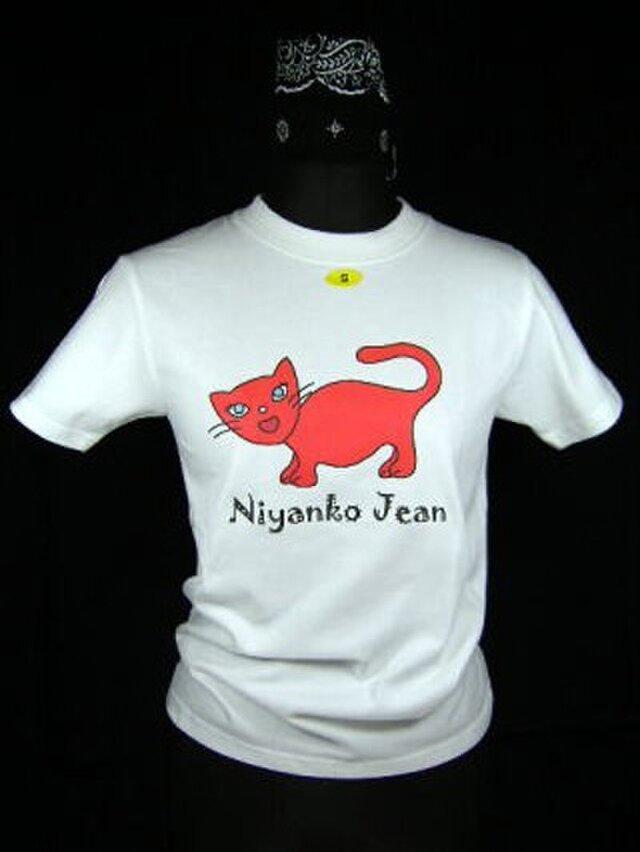 ★★オリジナルデザイン★赤色の猫のTシャツ・新品★★の画像1枚目