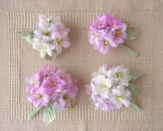スィートピンクの桜 M * 2種シルク製 * コサージュ 髪飾りの画像1枚目