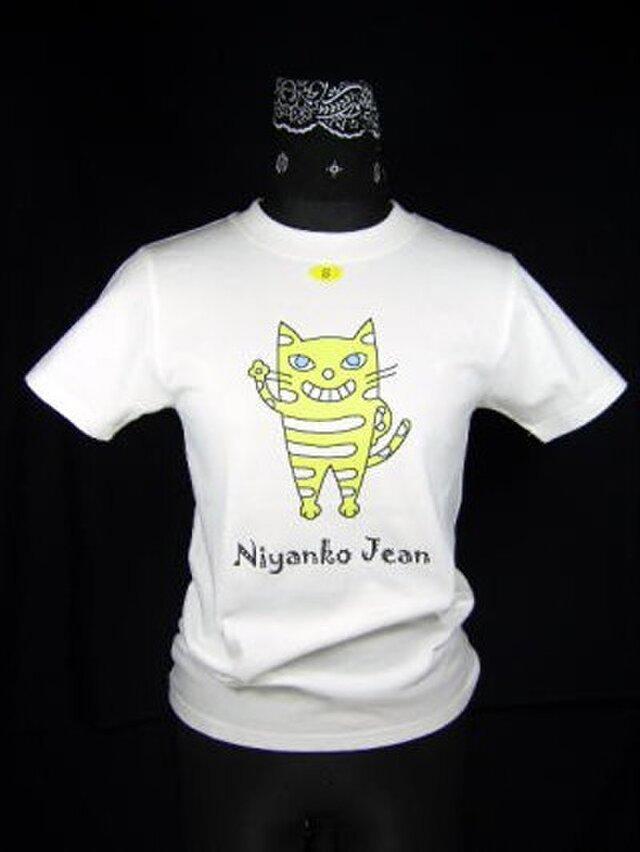 ★★オリジナル/立って手を振る★黄色い猫のTシャツ・新品★★の画像1枚目