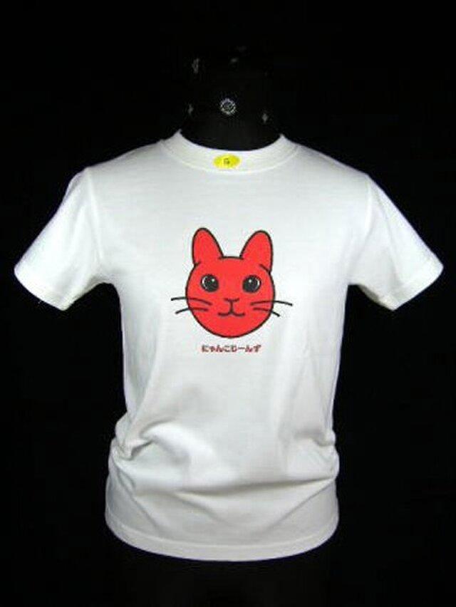 ★オリジナルデザイン★赤いうさぎ猫のTシャツ・新品★の画像1枚目