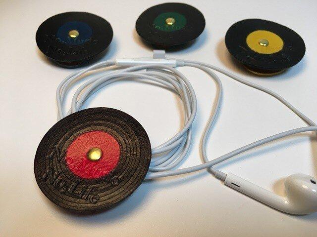 (受注製作) 革製 / レコード / イヤホンコードクリップの画像1枚目